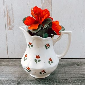 Vintage Boho White Milk Red Floral Jar